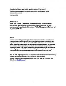 Complexity Theory and Public administration - RePub, Erasmus ...