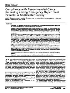 Compliance with Recommended Cancer ... - Wiley Online Library