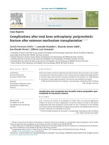 Complications after total knee arthroplasty