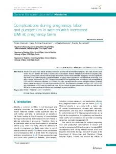 Complications during pregnancy, labor and puerperium in women with ...