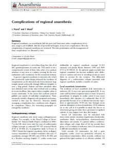 Complications of regional anaesthesia - Wiley Online Library