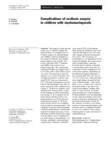 Complications of scoliosis surgery in children with myelomeningocele.
