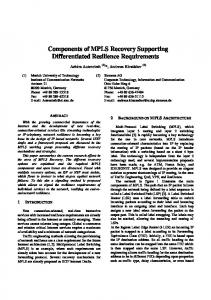 Components of MPLS Recovery Supporting Differentiated ... - CiteSeerX