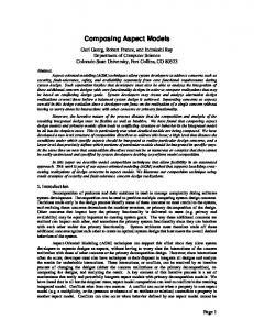 Composing Aspect Models - colorado state university - computer science