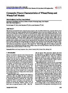Composite Flours-Characteristics of Wheat/Hemp and Wheat/Teff ...