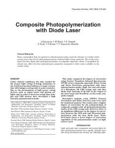 Composite Photopolymerization with Diode Laser - Operative Dentistry