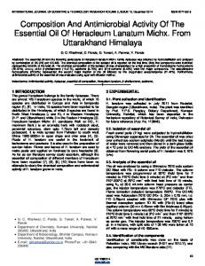Composition And Antimicrobial Activity Of The Essential Oil Of ...