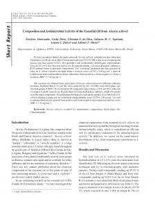 Composition and antimicrobial activity of the essential oil from Aloysia