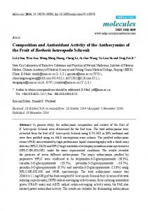 Composition and Antioxidant Activity of the Anthocyanins of the ... - MDPI