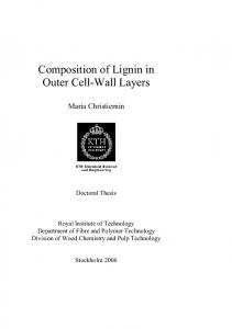 Composition of Lignin in Outer Cell-Wall Layers - DiVA portal