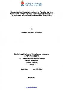 Compositional and lithological variation of the Platreef ...