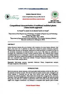 Compositional characterization of traditional medicinal plants: Chemo