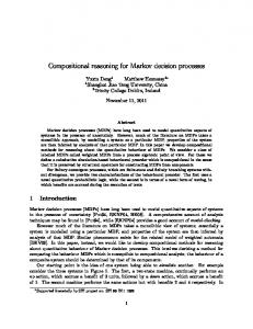 Compositional reasoning for Markov decision processes - CiteSeerX
