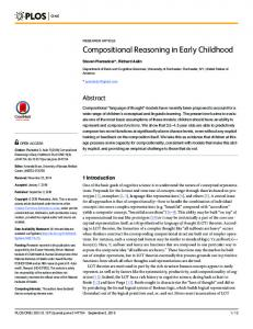 Compositional Reasoning in Early Childhood - Semantic Scholar