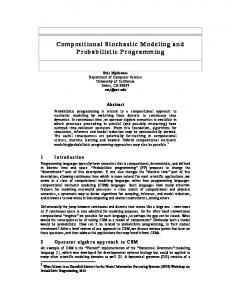 Compositional Stochastic Modeling and ... - Semantic Scholar