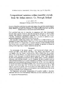 Compositional variation within staurolite crystals from the Ardara