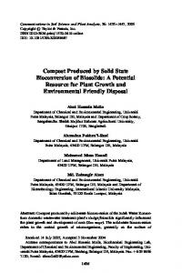 Compost Produced by Solid State Bioconversion of Biosolids: A ...
