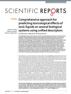 Comprehensive approach for predicting toxicological