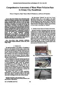 Comprehensive Assessment of Waste Water Pollution Rate in Almaty ...