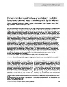 Comprehensive identification of proteins in Hodgkin ... - Nature