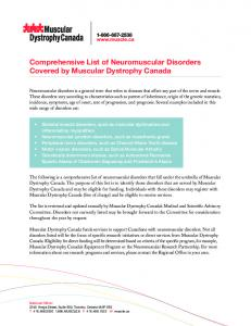 Comprehensive List of Neuromuscular Disorders Covered by ...