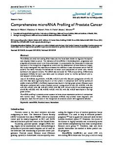 Comprehensive microRNA Profiling of Prostate Cancer - BioMedSearch