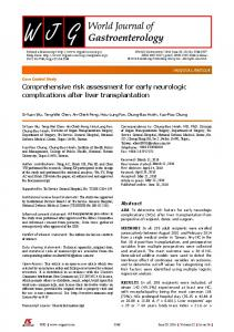 Comprehensive risk assessment for early neurologic complications ...