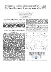 Compressed Domain Processing for Stereoscopic ... - Fraunhofer HHI