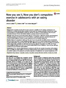 compulsive exercise in adolescents with an eating disorder