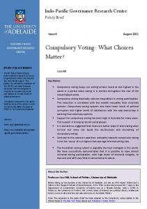 Compulsory Voting: What Choices Matter? - The University of Adelaide