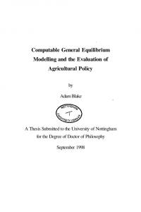 Computable General Equilibrium Modelling and the ...