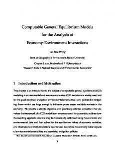 Computable General Equilibrium Models for the Analysis of ... - people
