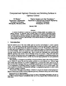 Computational Algebraic Geometry and Switching Surfaces in Optimal