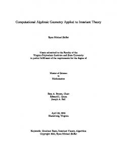 Computational Algebraic Geometry Applied to Invariant ... - VTechWorks