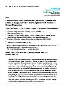 Computational and Experimental Approaches to ... - BioMedSearch