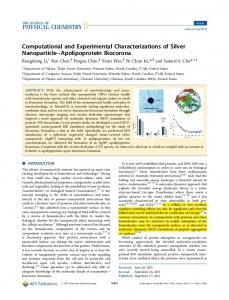 Computational and Experimental Characterizations of Silver ...
