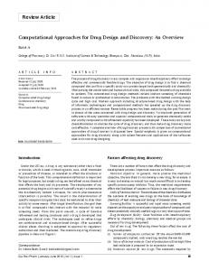 Computational Approaches for Drug Design and Discovery: An Overview