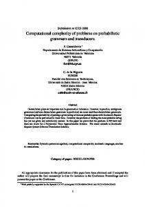 Computational complexity of problems on probabilistic ... - Univ. Nantes
