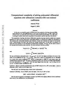 Computational complexity of solving polynomial differential equations ...