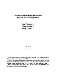 Computational Complexity of Sparse Real Algebraic Function ...