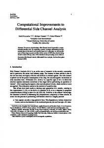 Computational Improvements to Differential Side ... - Semantic Scholar