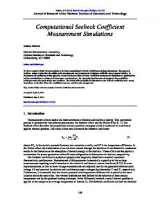 Computational Seebeck Coefficient Measurement ... - NIST Page