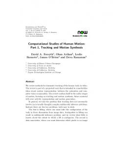 Computational Studies of Human Motion: Part 1, Tracking and ...