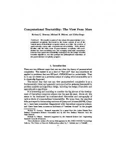 Computational Tractability: The View From Mars - CiteSeerX