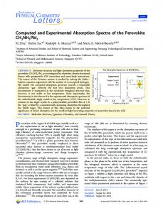 Computed and Experimental Absorption Spectra of the Perovskite ...