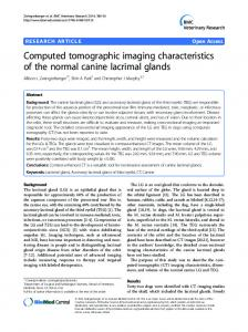 Computed tomographic imaging characteristics of the normal canine ...