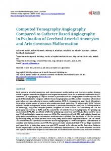 Computed Tomography Angiography Compared to Catheter Based ...