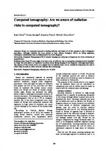 Computed tomography: Are we aware of radiation risks in ... - DergiPark