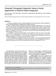 Computed Tomography Diagnostic Values of Acute ...