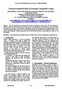 Computer Assisted Analysis of orthopedic radiographic images